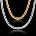 Retro Chunky Curb Cadeia Colar de Corrente de Ouro Para Os Homens 8mm Banhado A Ouro Meninos Grandes Cadeias de Moda Colar de Jóias Vintage Collier