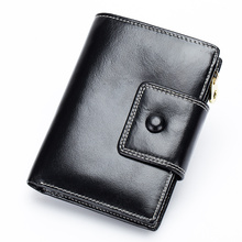 New Arrivals Oil Wax Leather Women Wallet 2018 Premium Real Short Retro Style Zipper Purses Hot Vintage Female Wallets
