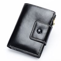New Arrivals Oil Wax Leather Women Wallet 2018 Premium Real Leather Short Retro Style Zipper Purses