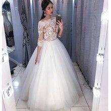 2019 elegante Sexy 3/4 Hülse Spitze Tüll Ballkleid Hochzeit Kleider Weg Von der Schulter Applique Brautkleid vestido De Noiva f104