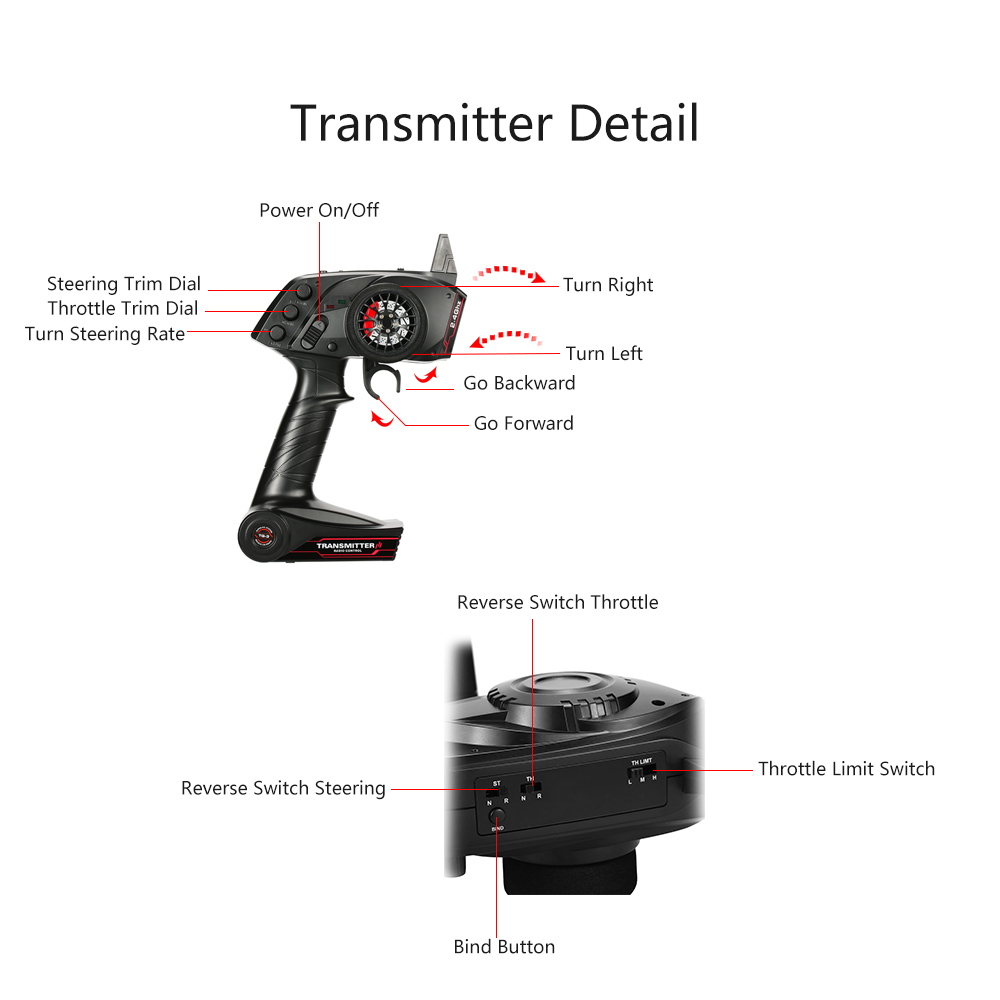 GOOLRC Original TG3 2.4GHz 3CH Digital Radio Remote Control Transmitter with Receiver for RC Car or Boat Toys Controller