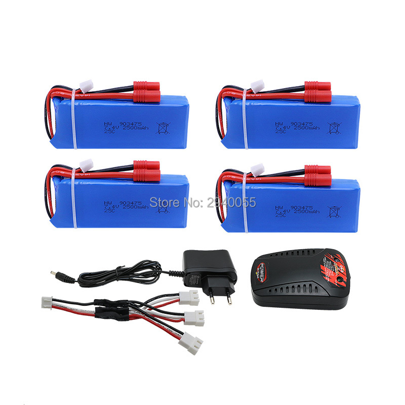 4pcs 7.4V 2500mAh Battery + Balance Charger + 3-port US Plug Charger Adapter For Syma X8C X8W X8G RC Quadcopte Free shipping keenstone intelligent balance battery charger 6a 100w customzied for yuneec typhoon q500 rc drone with led screen us eu uk plug