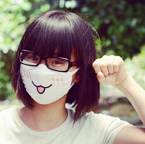 Kawaii противопылезащитная маска Kpop хлопковая маска для губ Милая аниме маска для лица с мультипликационным принтом маска для смайликов Kpop