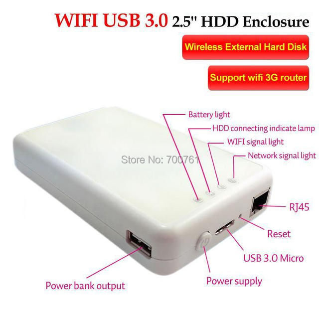 2pcs 2.5'' Wifi HDD Enclosure case Wireless HDD External Hard Disk,with WiFi storage,3g WiFi router 3000MA power bank funtion
