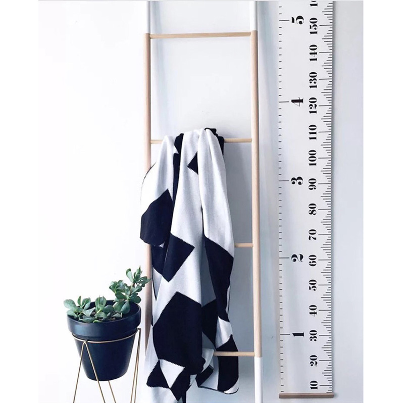 Nordic Creative Black / White Kids Room Wall Hängande Dekor Growth Chart Wood Canvas Hang Höjd Diagram fotografering rekvisita