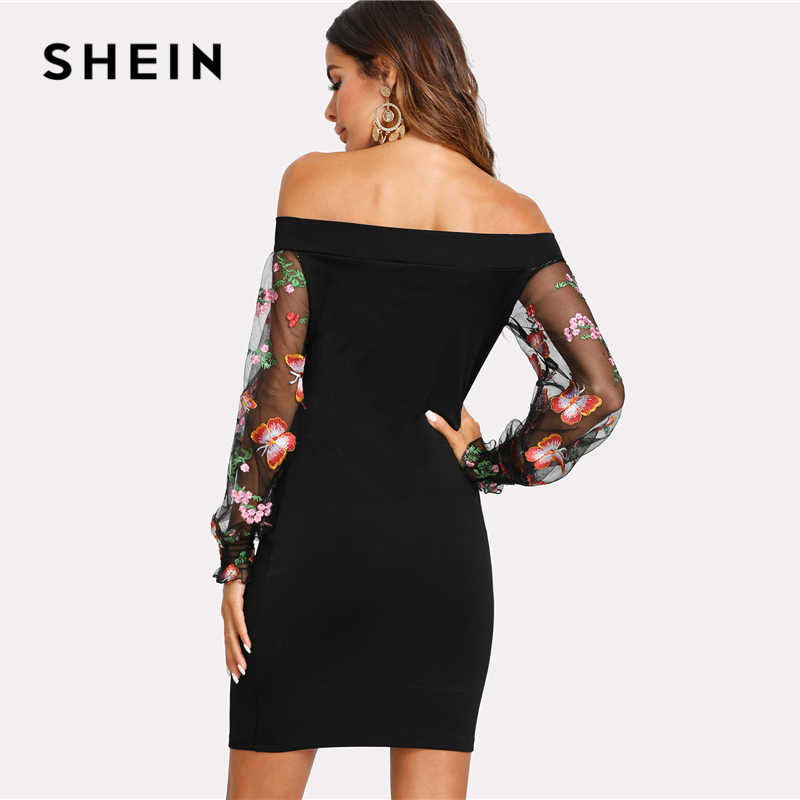 c554998a9e95 SHEIN Embroidered Mesh Sleeve Bardot Dress Black Off The Shoulder Puff  Sleeve Women Bodycon Dress 2018 Sexy Short Party Dress-in Dresses from  Women's ...
