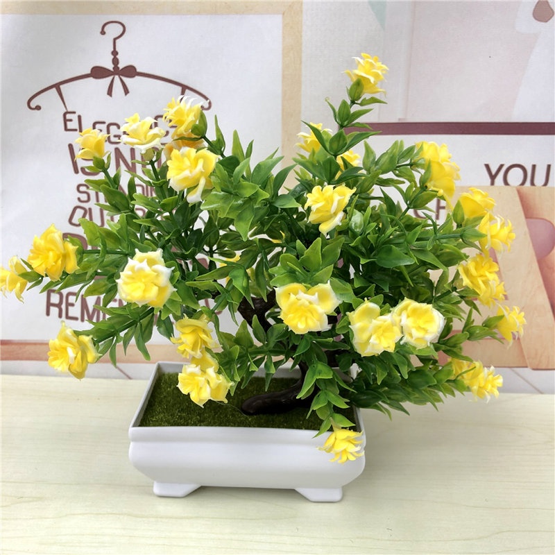 Artificial Green Plants Bonsai Plastic Rose Flowers Small Tree Pot Plant Potted Ornaments For Home Table Garden Decoration 52841