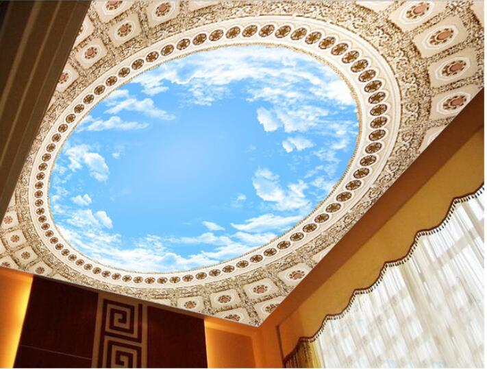 3d wallpaper custom mural non-woven wall sticker  The blue sky white cloud background wallpaper wall ceiling murals  wallpaper custom ceiling wallpaper blue sky and white clouds murals for the living room apartment ceiling background wall vinyl wallpaper