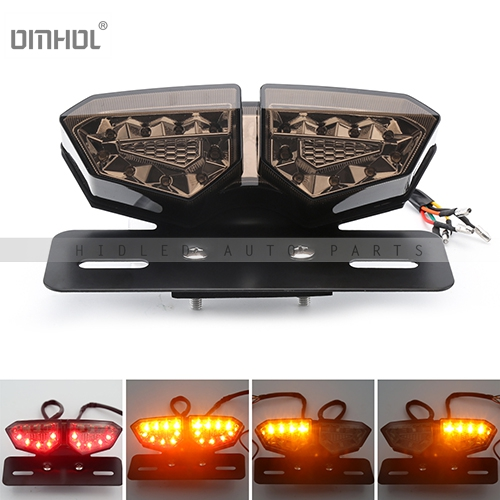 Newest 12V Motorcycle Tail Light LED Integrated Brake Smoke Turn Signal Light Red Amber Motorbike License Plate Lamp Indicators