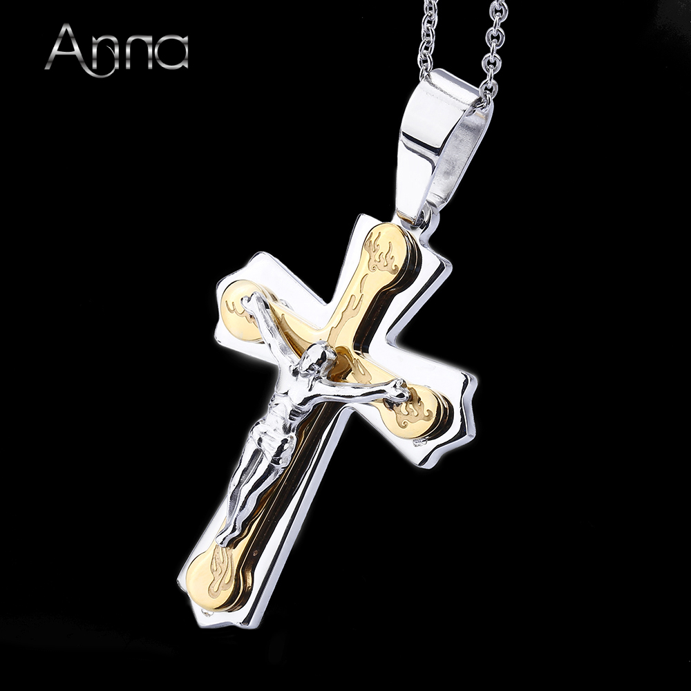 A&N Necklace Pendant Brand Necklace Silver Gold Color Jewelry Antique Cross Crucifix Jesus Cross Pendant Necklaces For Women Men