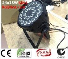 24 x 18 W RGBWA + UV 6in1 iluminación dj RGBWA UV 6in1 led luz de la igualdad cubierta de aleación de aluminio