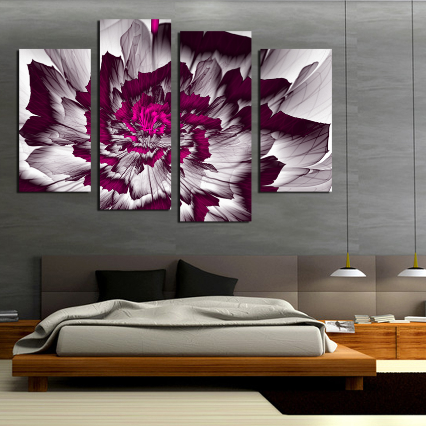 New Modular 4pcs Canvas Painting Flower Simple Cute Paintings For Living Room Such Beauty Picture On The Wall Printed Unf Paintingpainting Aliexpress