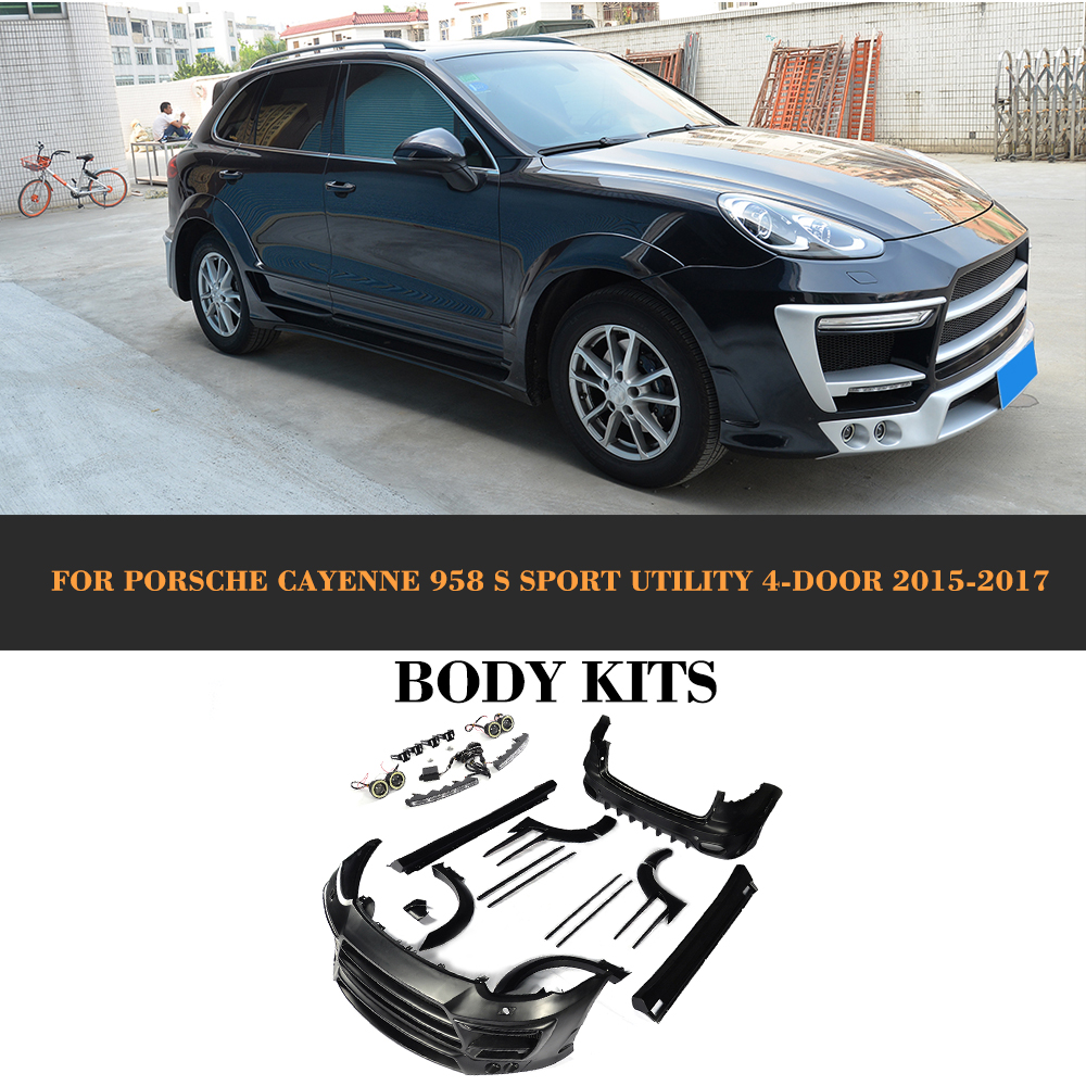 Body Kits Front Rear Bumper Side Skirts wheel arch for Porsche Cayenne 958 S Sport Utility 4 Door 2015 2016 2017 FRP Black