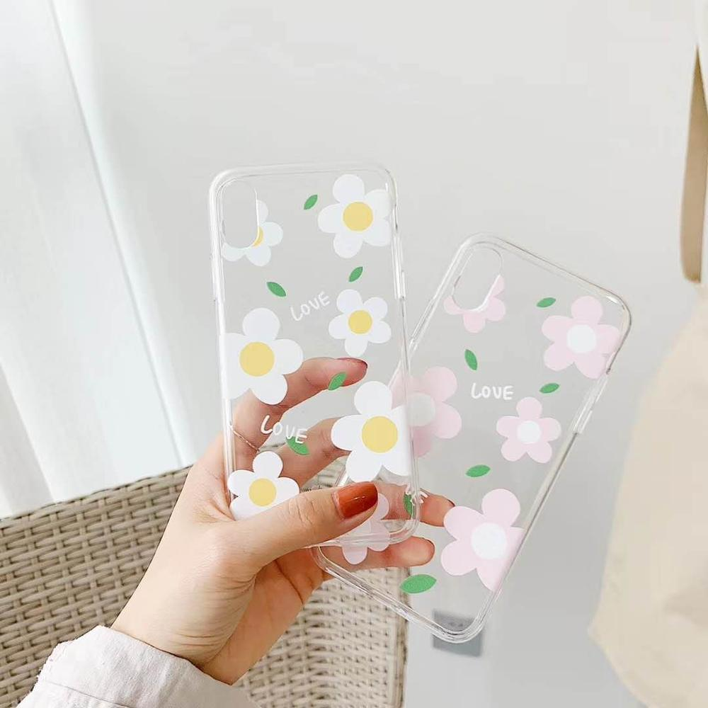 High quality tpu Cute Lovely Freshness flower <font><b>case</b></font> for <font><b>iphone</b></font> XR X XS MAX 7 8 <font><b>6</b></font> 6S plus fashion girl <font><b>white</b></font> silicone phone cover image
