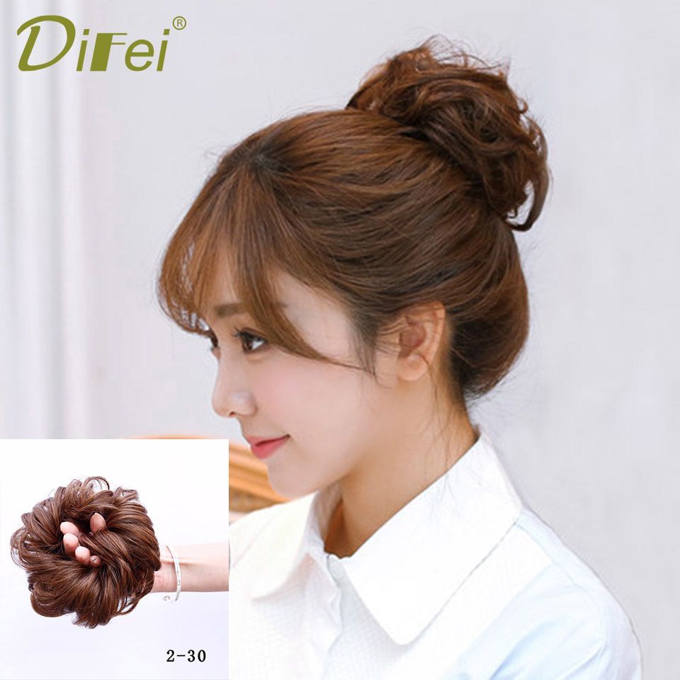 Women Curly Chignon Hair Clip In Hairpiece Extensions Black Brown Red Synthetic Heat Resistant Fiber Chignon DIFI