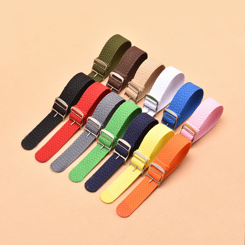 Wholesale 18 20 22mm Nylon Knit Watchband Comfortable Waterproof Replacement Band Strap With Silver Pin Buckle For Omega IWC in Watchbands from Watches
