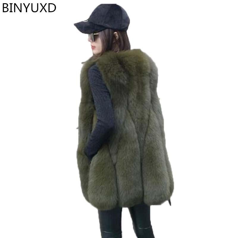 BINYUXD nouveauté qualité 2018 veste à la mode hiver chaud marque de mode femmes veste en fausse fourrure manteau en fourrure de renard gilet