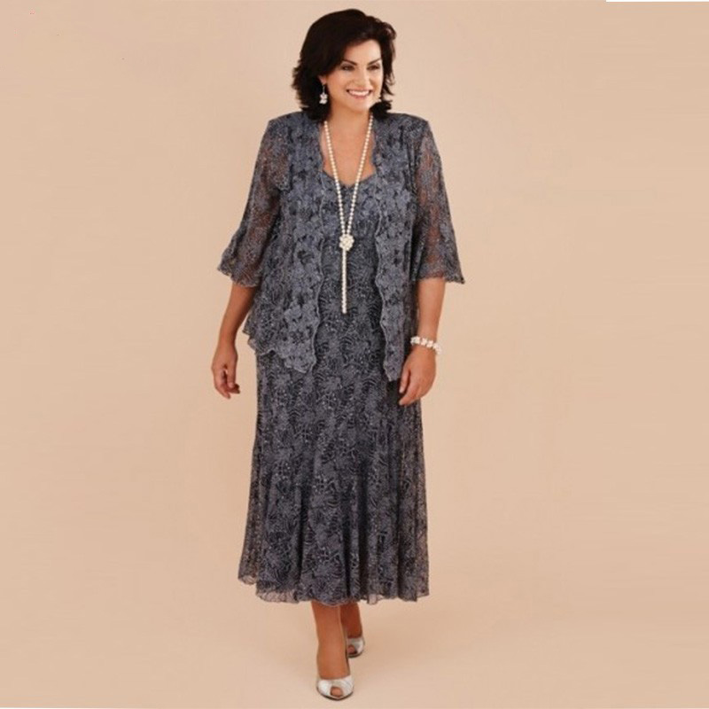 Plus Size Mother Bride Dresses: Plus Size Gray Lace Tea Length Mother Of The Bride Dresses