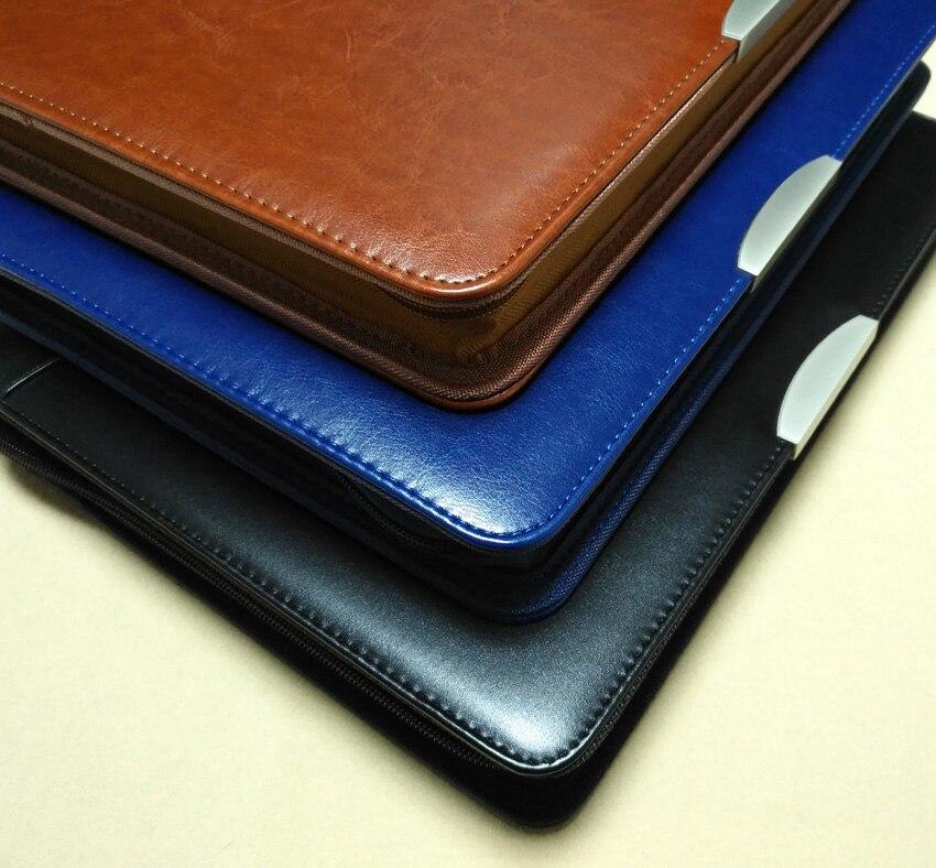 business agreement a4 leather file folder briefcase document manager bag portfolio padfolio zipper ipad ring binder spiral 448C