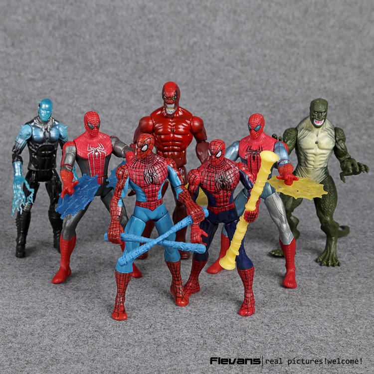 Spiderman Toys The <font><b>Amazing</b></font> <font><b>Spider-man</b></font> Venom The <font><b>Lizard</b></font> PVC <font><b>Action</b></font> <font><b>Figures</b></font> 16cm 7pcs/set