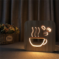 Coffee Cup Shape Wood Lamp 3D LED Hollowed out Night Light Warm White Table USB Supply as Shop Office Home Decor Friend's Gift