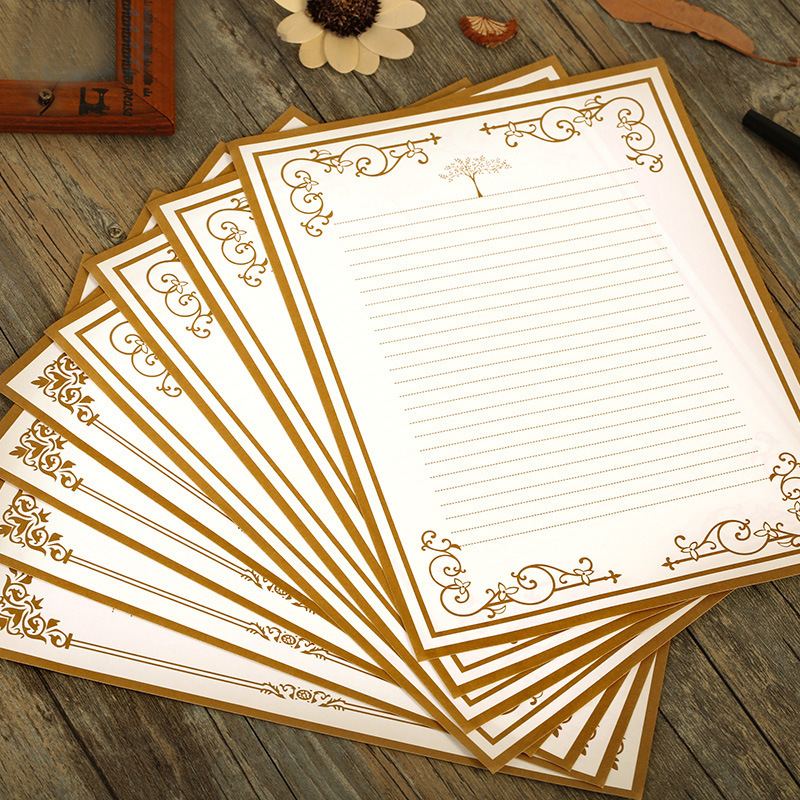 8pcslot new cute romantic vintage letter writing paper design set thick section 110g paper