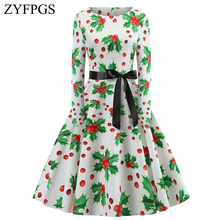ZYFPGS 2019 Ladies Dress Red fruit printing Womans Long Warm Chinese Style Fashion Belt Round Neck Small floral Z1112