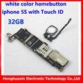 32 gb original mainboard motherboard con huella digital para iphone 5s desbloquear con touch id placa lógica tablero de sistema ios + botón de inicio