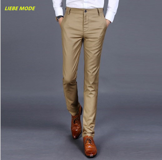 2016 Western Style Autumn Winter Men Skinny Suit Pants Mens Slim Fit Formal Dress Pants Black Grey Khaki Blue Work Trousers number