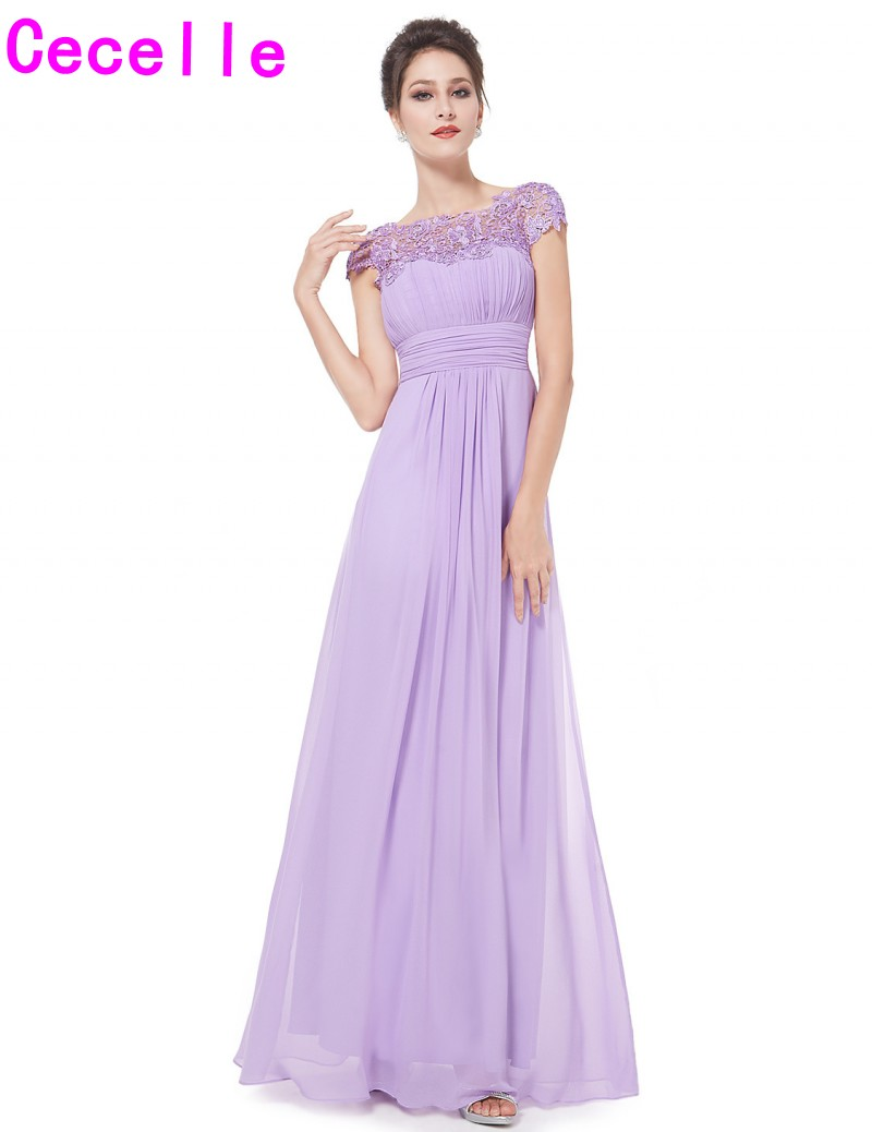 2019 New Lilac Chiffon Formal Beach Long Bridesmaid Dresses With Cap Sleeves Ruched Chiffon Open Back Country Bridesmaid Gown