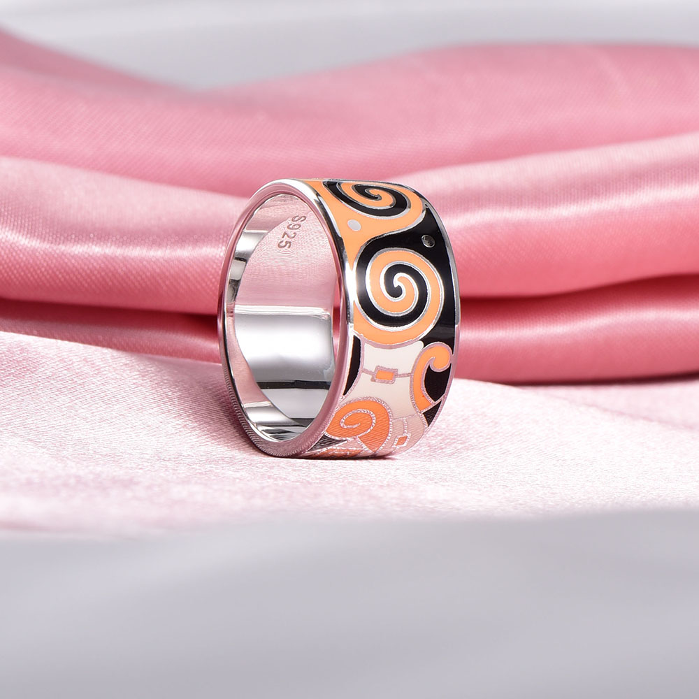 RainMarch Bohemian Geogretric Enamel Silver Ring For Women ...