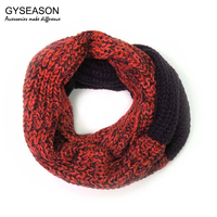 Knitted Scarves Ring Snood Woman Blended Yarn Collar Bufanda Scarf New Fashion Wine Red Pink Patchwork