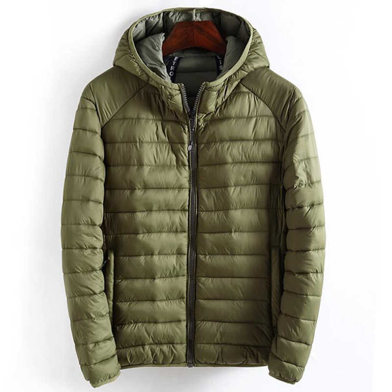 Winter Jacket Men Hooded Casual Simple Lightweight Warm Cotton Padded Basics Jackets Mens Outwear Windbreaker Coats New Clothes