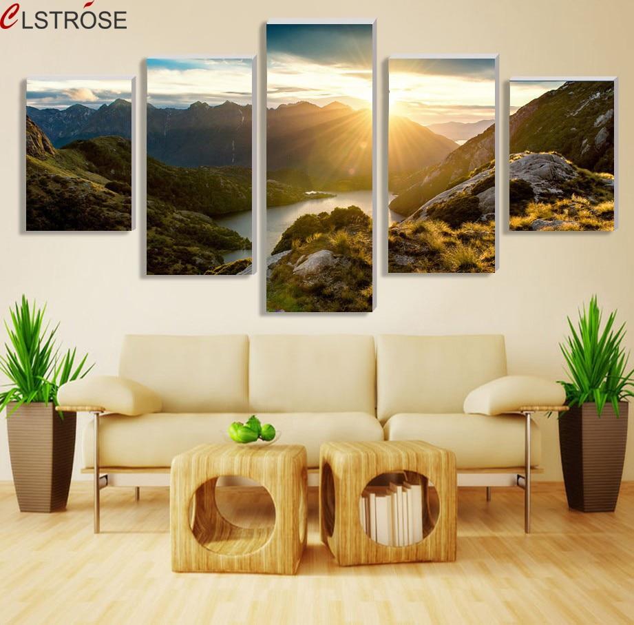 CLSTROSE Moderní horská a říční krajina Malba na plátně 5 kusů Nástěnné umění Velkolepý obraz ze slunečního svitu pro obývací pokoj