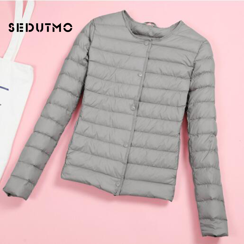 SEDUTMO Winter Plus Size 4XL Womens Down Jacket Ultra Light Duck Down Coat Autumn Slim Short Puffer Jacket ED510