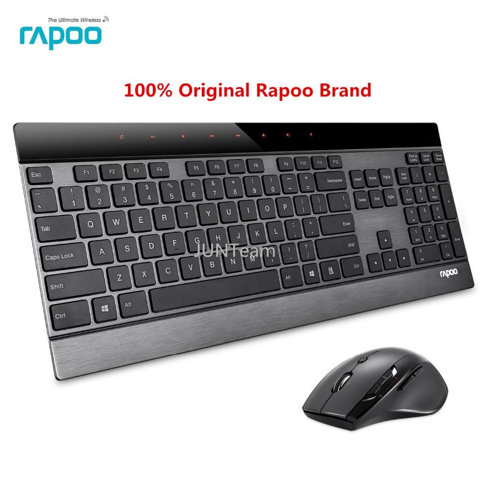 Prix pour D'origine rapoo 8900 p 5g 4.0mm ultra-mince intelligente sans fil clavier et souris laser 2-en-1 combo-if design award gagnant