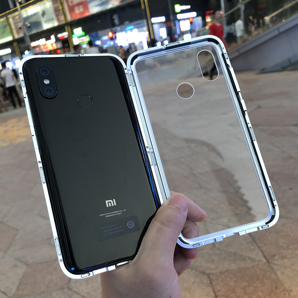 360 Magnetic Flip Cover For Xiaomi Luxury Metal Frame Tempered Glass Magnet Adsorption Cases For Xiaomi