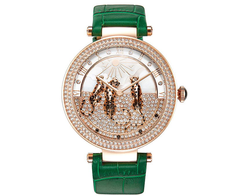 Lovely Leopards Decorated Women Crystals Watches New Designer Imported Quartz Dress Wrist watch Big Size Montre