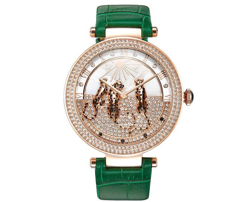 Beaux léopards décorés femmes cristaux montres nouveau Designer importé Quartz robe Montre-bracelet grande taille Montre Femme WA146