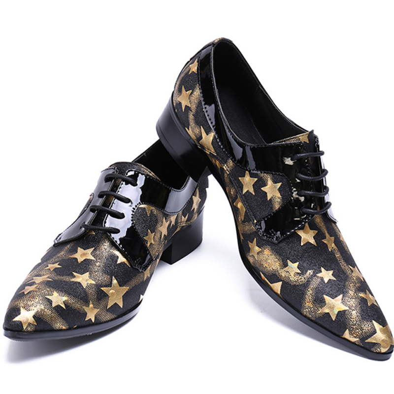 2017 New Arrival Genuine Leather Pointed Toe Slip On Gold Stars Metal Tip Men Dress Shoe Evening Party Wedding Flat Plus Size 46 new arrival black alligator genuine leather handmade metal tip spikes pointed toe slip on formal dress shoes sexy fashion mans