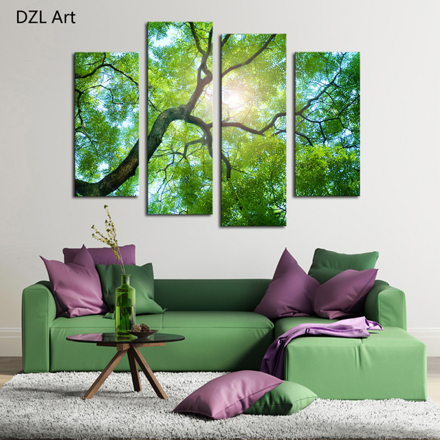 4 Panels (No Frame)Green Tree Painting Canvas Wall Art Picture Home  Decoration Living