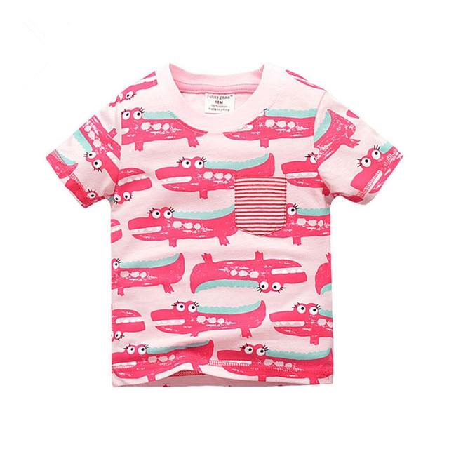 95321933d Cartoon Printed Girls T Shirts Cotton Crocodile Baby Girl Tshirt ...