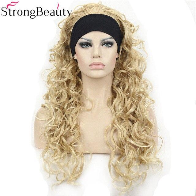 StrongBeauty 26 אינץ סינטטי חצי פאה ארוך מתולתל שיער פאות עם סרטי ראש טבעי לחתוך שיער סגנון לנשים