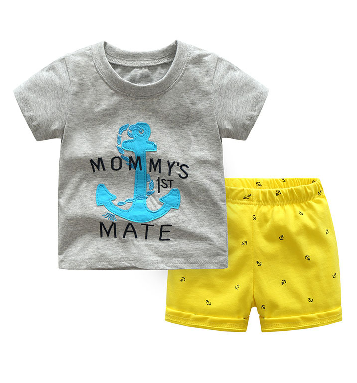 2019 Children Summer Clothes Mommy's 1st Mate Letter Printed Anchor Cotton T-Shirts+Shorts 2 PCS Suits Kids Boys Clothing Sets