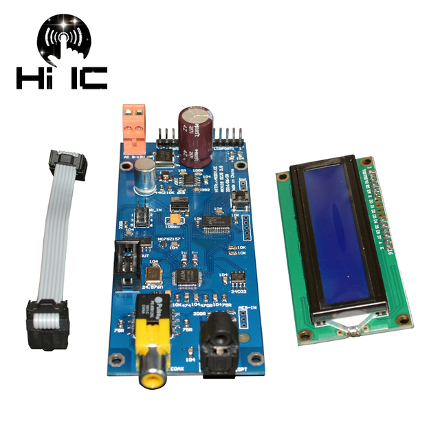 AK4118 Digital Receiver Board Module Coaxial Fiber Optical AES SPDIF To I2S With LCD Display 16 24bit 32 192K