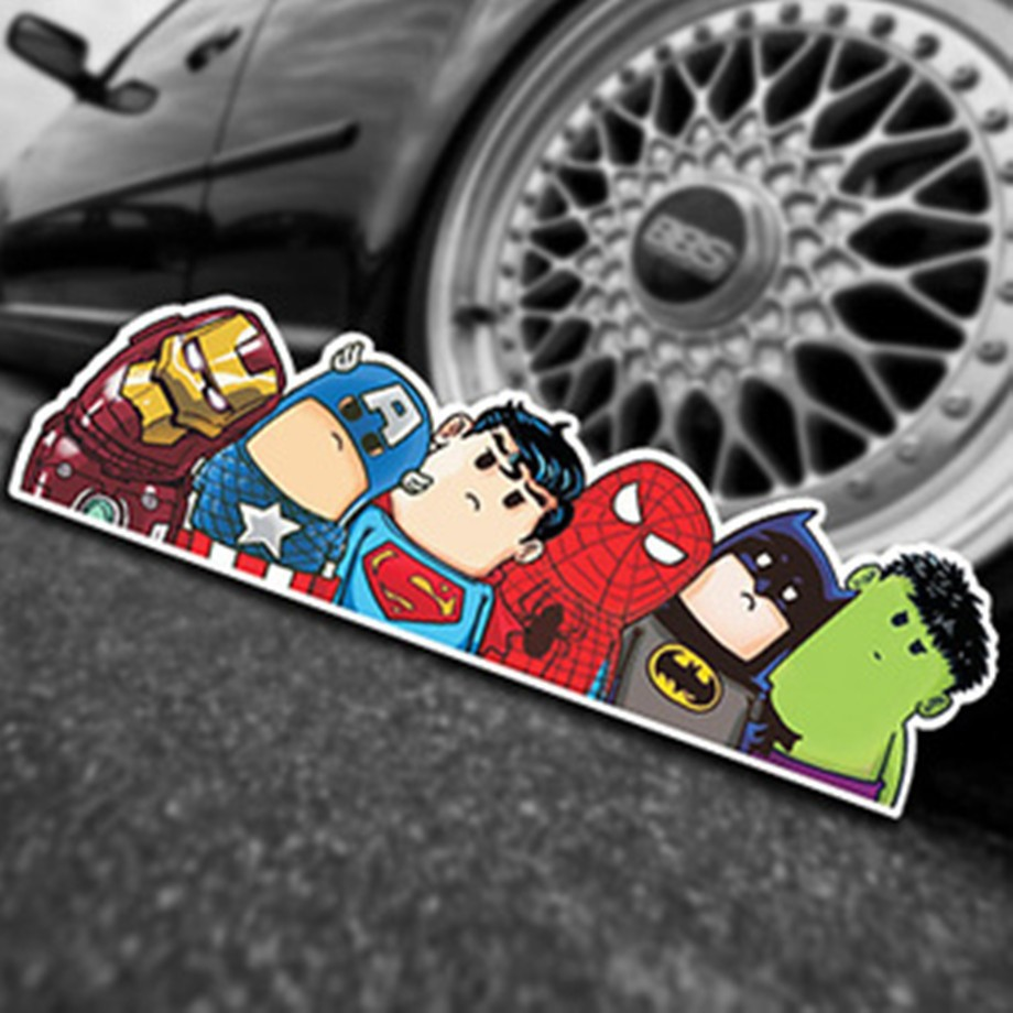 Car Styling Super Hero Hitchhike Save The World Moto Stickers Motorcycle Decal Funny Cartoon Reflective Car Sticker Accessories guitar hero world tour купить pc