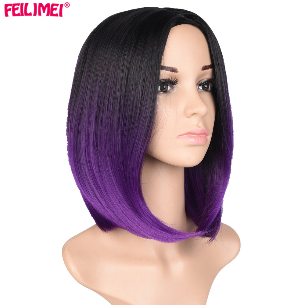 Feilimei Ombre Bob <font><b>Wig</b></font> Synthetic <font><b>Pink</b></font> Hair Ombre Purple Blonde Gray 160g African American <font><b>Short</b></font> Straight Cosplay <font><b>Wigs</b></font> image