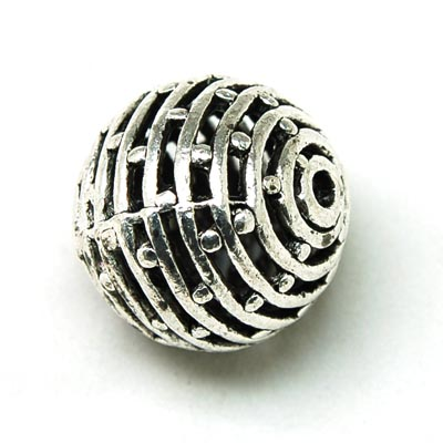 50 pcs antique silver hollow metal cast beads 25mm