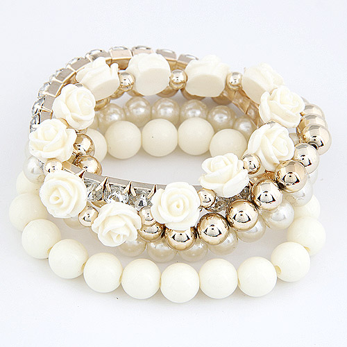 LEMOER Bohemian Fashion Candy Color Pearl Rose Flower Multilayer Beads Stretch Charm Bracelet & Bangle For Women pulseras mujer