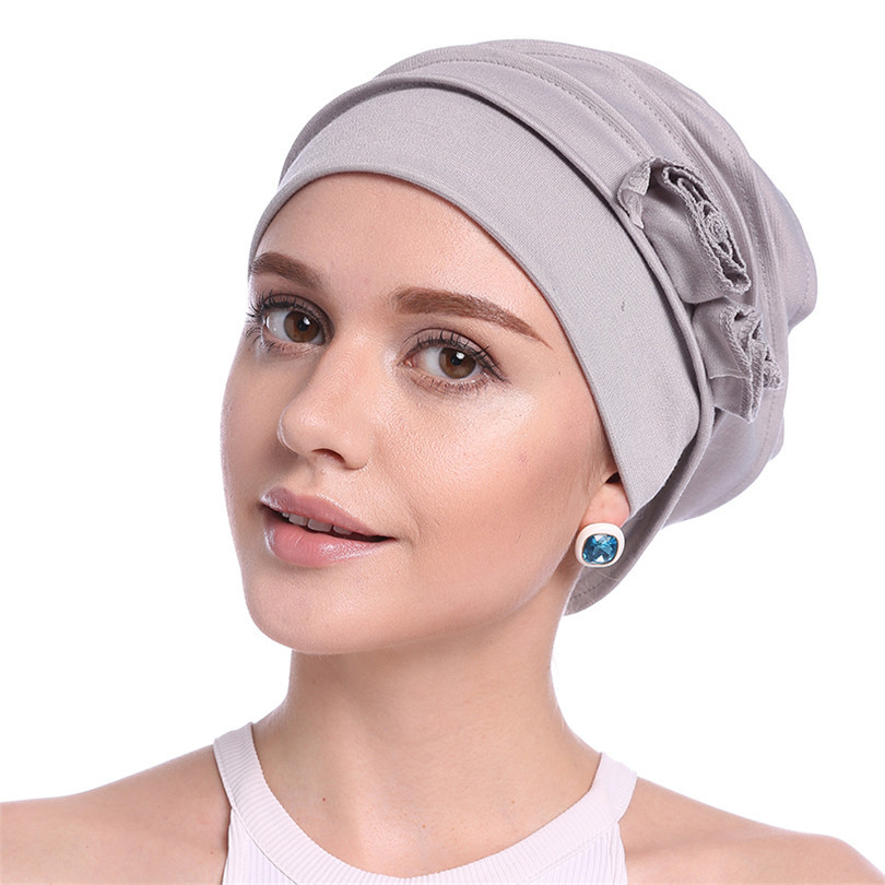 Haimeikang 2019 New Turban Headband for Women Girls Cotton Flower Kerchief Elastic Hair Bands Hat Head Wrap Bandanas Headwear